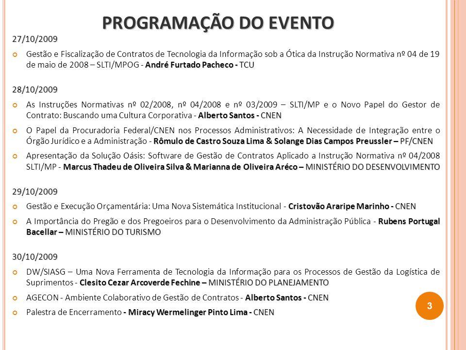 PROGRAMAÇÃO DO EVENTO PROGRAMAÇÃO DO EVENTO 27/10/2009 André Furtado Pacheco - TCU Gestão e Fiscalização de Contratos de Tecnologia da Informação sob