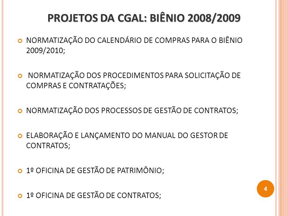 PROJETOS DA CGAL: BIÊNIO 2009/2010 SIADCON: SISTEMA DE ADMINISTRAÇÃO E GESTÃO DE CONTRATOS; IMPLANTAÇÃO DO AGECON: AMBIENTE COLABORATIVO DE GESTÃO DE CONTRATOS; OFICINA DE GESTÃO DE CONTRATOS DE T.I; OFICINA DO DW-SIASG NAS UNIDADES ADMINISTRATIVAS; IMPLANTAÇÃO DA NORMATIZAÇÃO CORPORATIVA DA ÁREA DE TRANSPORTE DA CNEN; IMPLANTAÇÃO DA NORMATIZAÇÃO CORPORATIVA DA ÁREA DE PATRIMÔNIO DA CNEN; 5