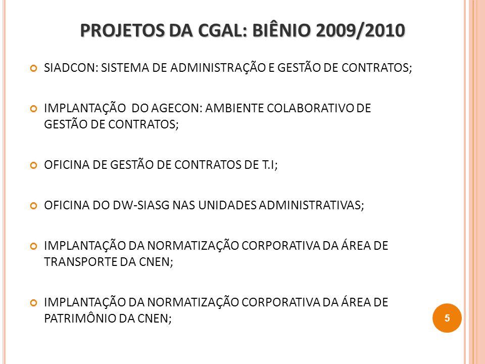 PROJETOS DA CGAL: BIÊNIO 2009/2010 SIADCON: SISTEMA DE ADMINISTRAÇÃO E GESTÃO DE CONTRATOS; IMPLANTAÇÃO DO AGECON: AMBIENTE COLABORATIVO DE GESTÃO DE