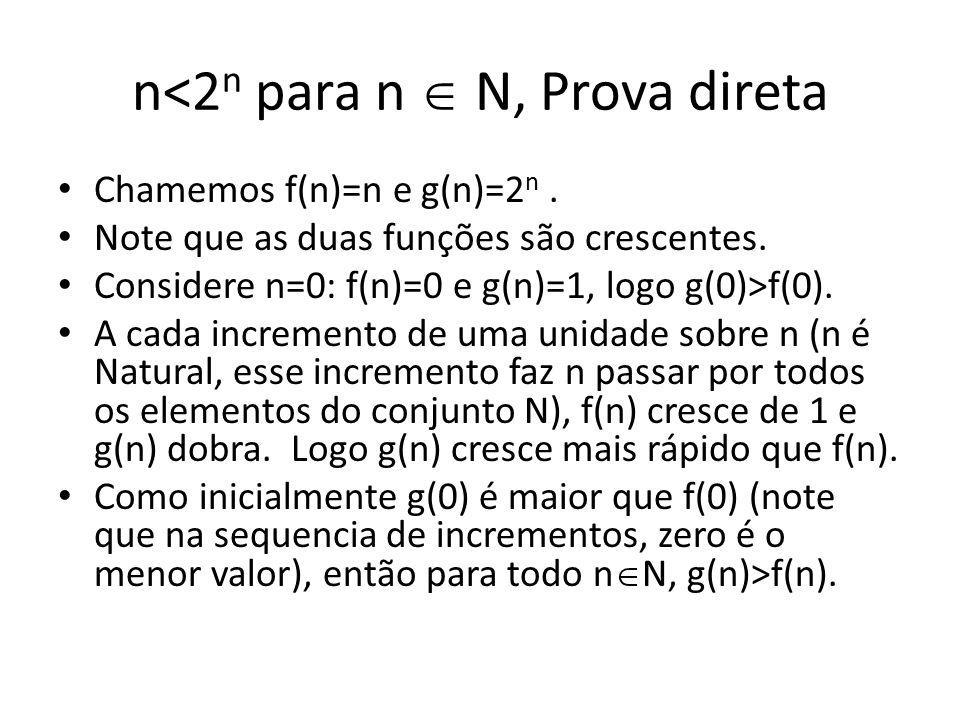 n<2 n para n N, Prova direta Chamemos f(n)=n e g(n)=2 n. Note que as duas funções são crescentes. Considere n=0: f(n)=0 e g(n)=1, logo g(0)>f(0). A ca