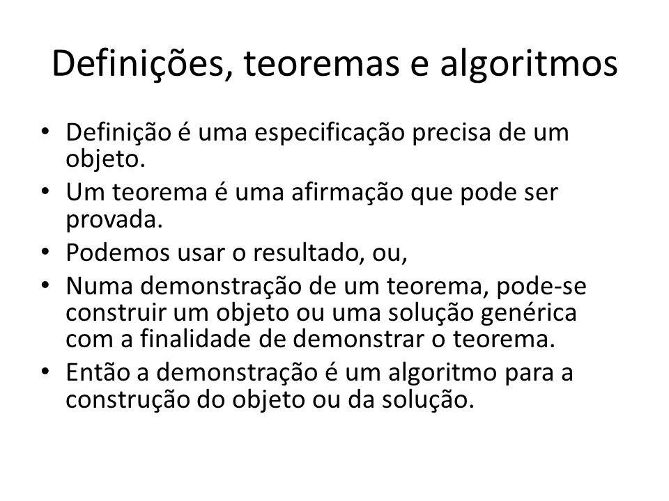 Definições, teoremas e algoritmos Definição é uma especificação precisa de um objeto. Um teorema é uma afirmação que pode ser provada. Podemos usar o