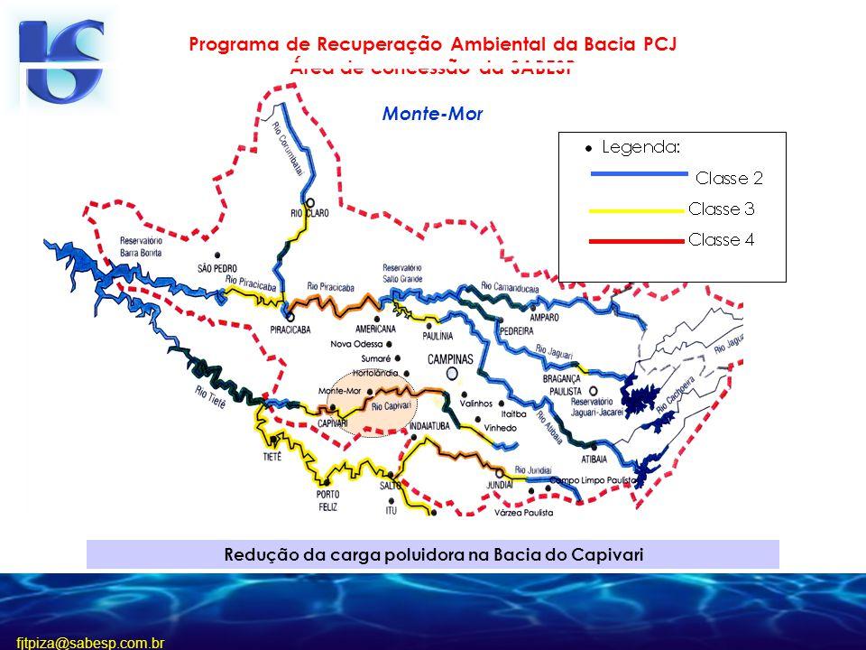 fjtpiza@sabesp.com.br Redução da carga poluidora na Bacia do Capivari Programa de Recuperação Ambiental da Bacia PCJ Área de concessão da SABESP Monte-Mor
