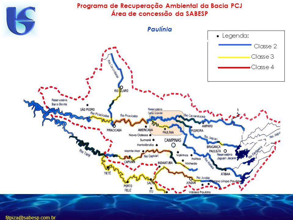 fjtpiza@sabesp.com.br Programa de Recuperação Ambiental da Bacia PCJ Área de concessão da SABESP Paulínia