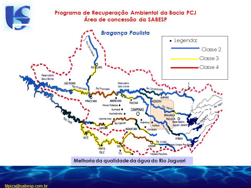 fjtpiza@sabesp.com.br Programa de Recuperação Ambiental da Bacia PCJ Área de concessão da SABESP Bragança Paulista Melhoria da qualidade da água do Rio Jaguari