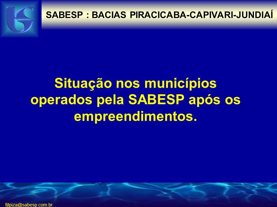 fjtpiza@sabesp.com.br SABESP : BACIAS PIRACICABA-CAPIVARI-JUNDIAÍ Situação nos municípios operados pela SABESP após os empreendimentos.