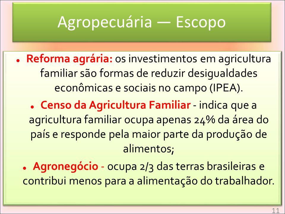 Agropecuária Escopo Reforma agrária: os investimentos em agricultura familiar são formas de reduzir desigualdades econômicas e sociais no campo (IPEA)