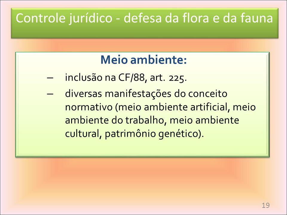 Controle jurídico - defesa da flora e da fauna Meio ambiente: – inclusão na CF/88, art. 225. – diversas manifestações do conceito normativo (meio ambi