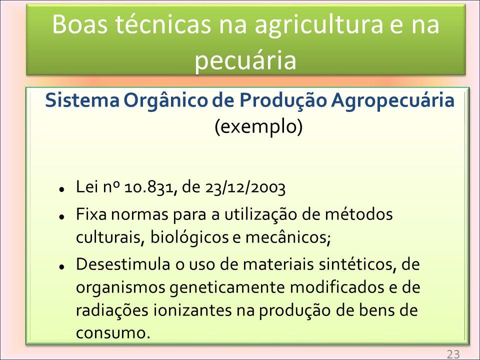 Boas técnicas na agricultura e na pecuária Sistema Orgânico de Produção Agropecuária (exemplo) Lei nº 10.831, de 23/12/2003 Fixa normas para a utiliza
