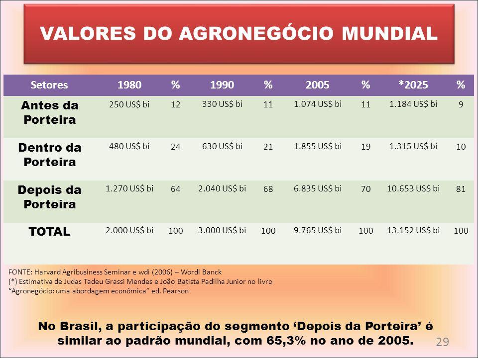 VALORES DO AGRONEGÓCIO MUNDIAL Setores1980%1990%2005%*2025% Antes da Porteira 250 US$ bi12330 US$ bi111.074 US$ bi111.184 US$ bi9 Dentro da Porteira 4