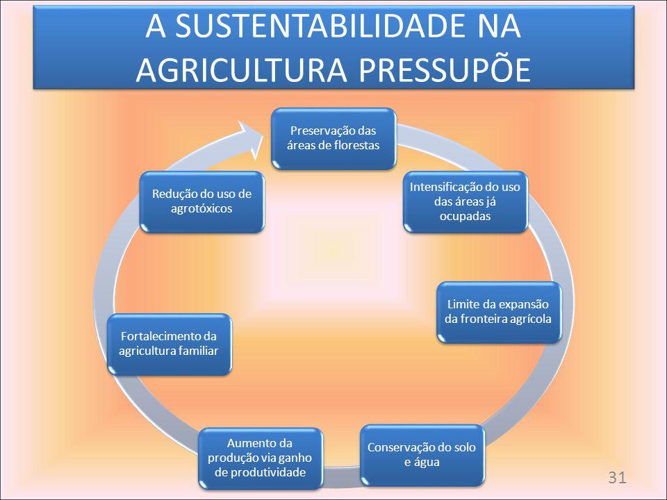 A SUSTENTABILIDADE NA AGRICULTURA PRESSUPÕE Preservação das áreas de florestas Intensificação do uso das áreas já ocupadas Limite da expansão da front