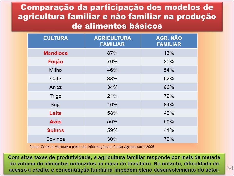 Comparação da participação dos modelos de agricultura familiar e não familiar na produção de alimentos básicos CULTURAAGRICULTURA FAMILIAR AGR. NÃO FA
