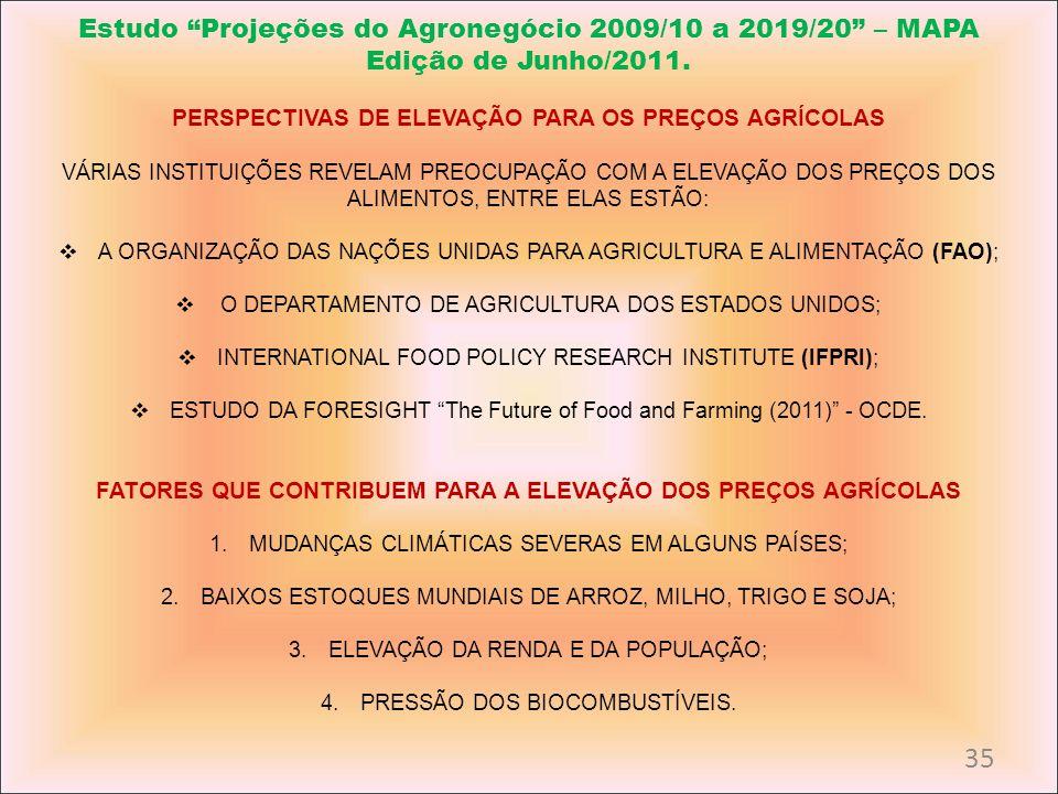 Estudo Projeções do Agronegócio 2009/10 a 2019/20 – MAPA Edição de Junho/2011. PERSPECTIVAS DE ELEVAÇÃO PARA OS PREÇOS AGRÍCOLAS VÁRIAS INSTITUIÇÕES R