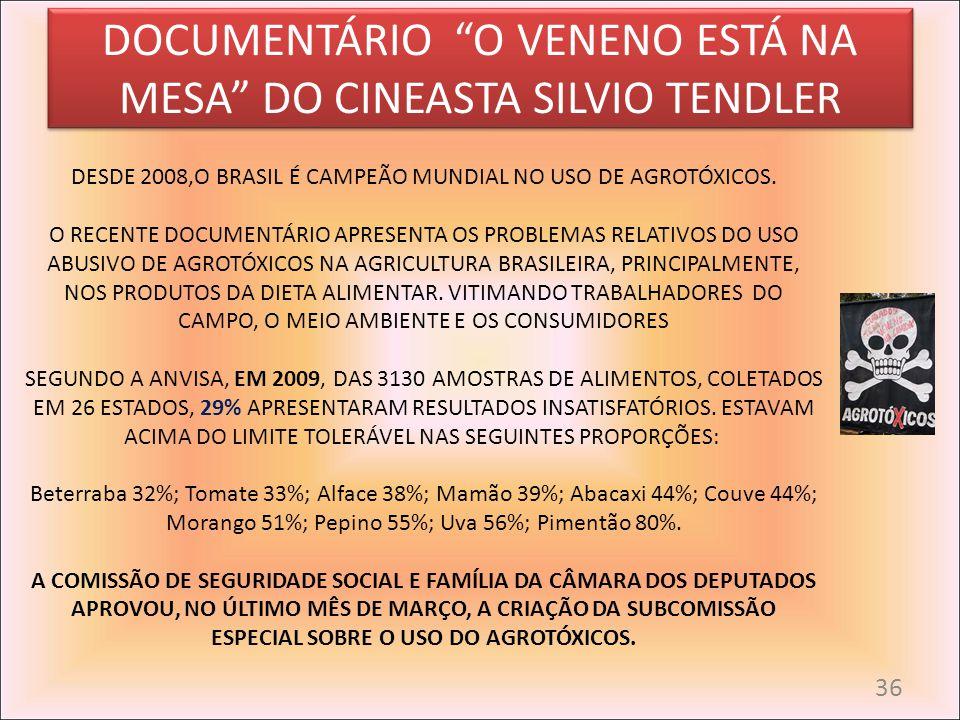 DOCUMENTÁRIO O VENENO ESTÁ NA MESA DO CINEASTA SILVIO TENDLER DESDE 2008,O BRASIL É CAMPEÃO MUNDIAL NO USO DE AGROTÓXICOS. O RECENTE DOCUMENTÁRIO APRE