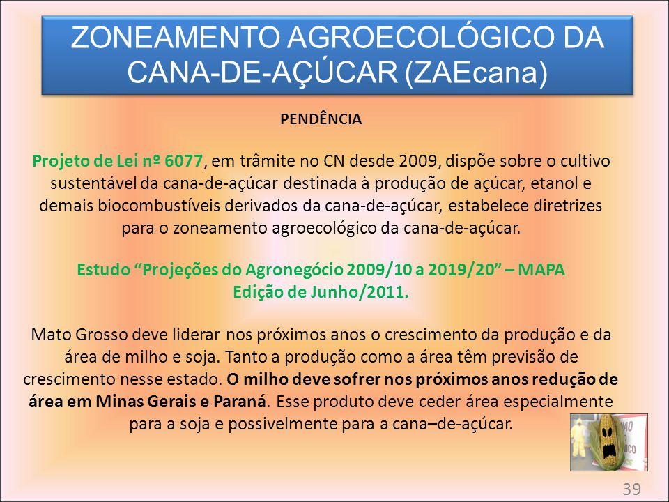 PENDÊNCIA Projeto de Lei nº 6077, em trâmite no CN desde 2009, dispõe sobre o cultivo sustentável da cana-de-açúcar destinada à produção de açúcar, et