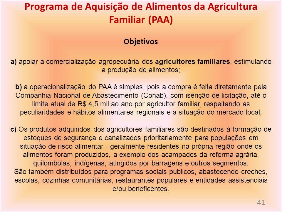 Programa de Aquisição de Alimentos da Agricultura Familiar (PAA) Objetivos a) apoiar a comercialização agropecuária dos agricultores familiares, estim