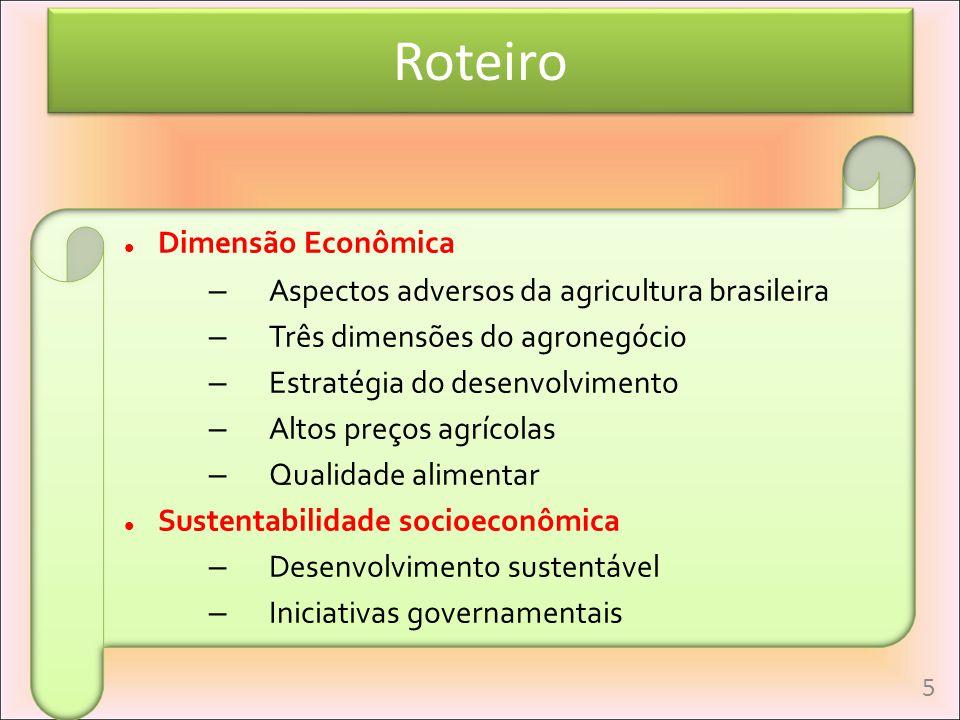 Roteiro Dimensão Econômica – Aspectos adversos da agricultura brasileira – Três dimensões do agronegócio – Estratégia do desenvolvimento – Altos preço