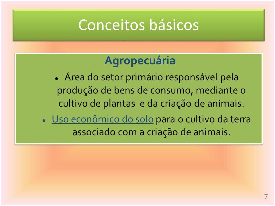 Agropecuária Área do setor primário responsável pela produção de bens de consumo, mediante o cultivo de plantas e da criação de animais. Uso econômico