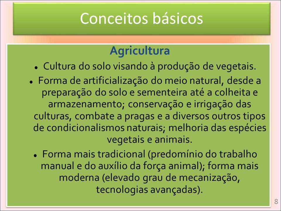 Conceitos básicos Agricultura Cultura do solo visando à produção de vegetais. Forma de artificialização do meio natural, desde a preparação do solo e