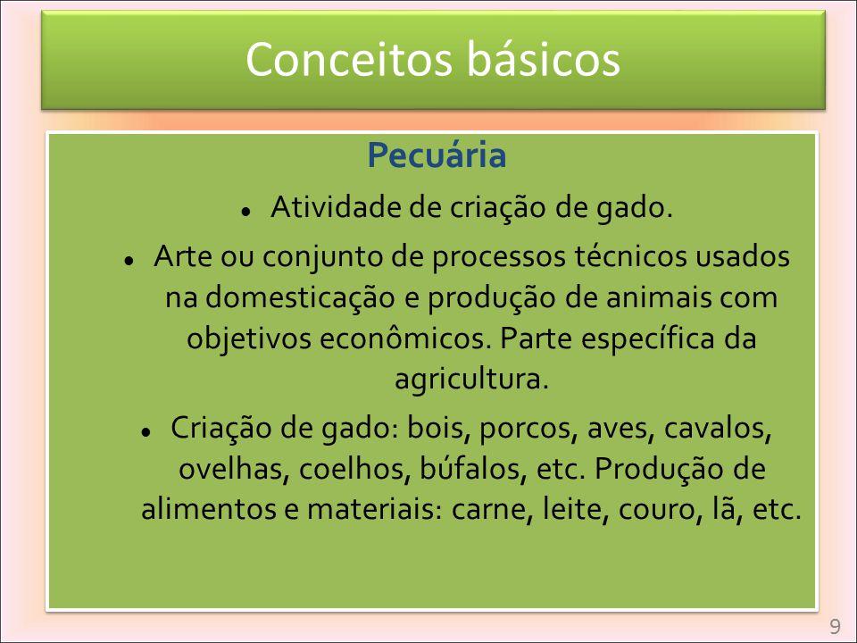 Conceitos básicos Pecuária Atividade de criação de gado. Arte ou conjunto de processos técnicos usados na domesticação e produção de animais com objet