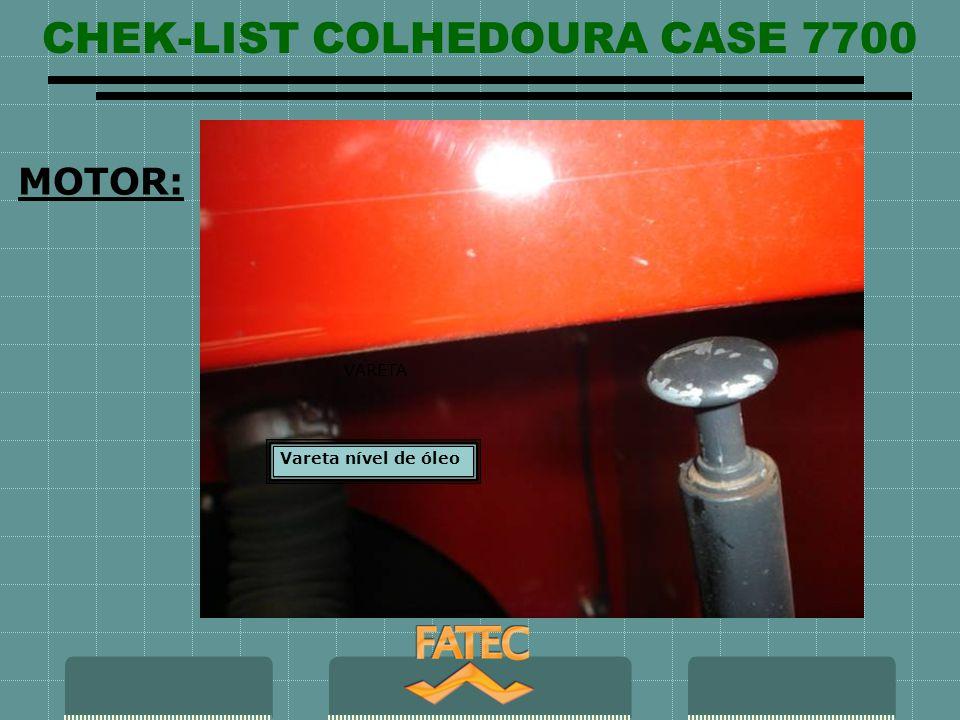 CHEK-LIST COLHEDOURA CASE 7700 Maximo Mínimo MOTOR: