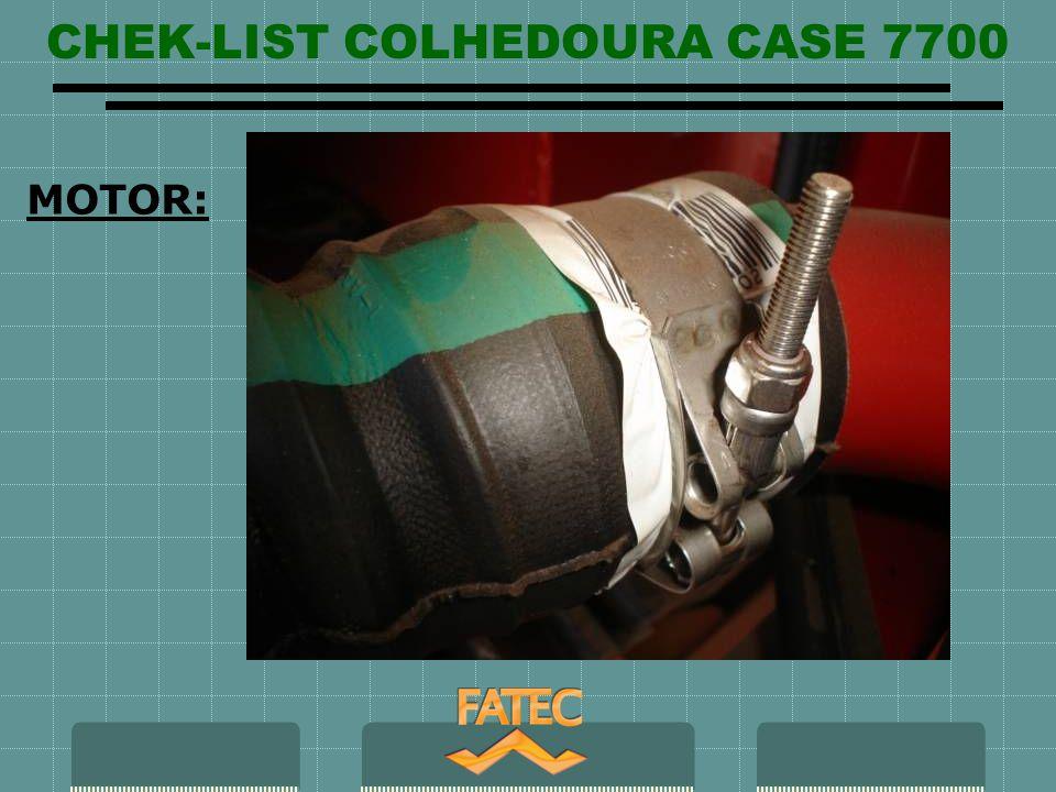 CHEK-LIST COLHEDOURA CASE 7700 HIDRAULICO: Visor de óleo hidráulico da colhedoura