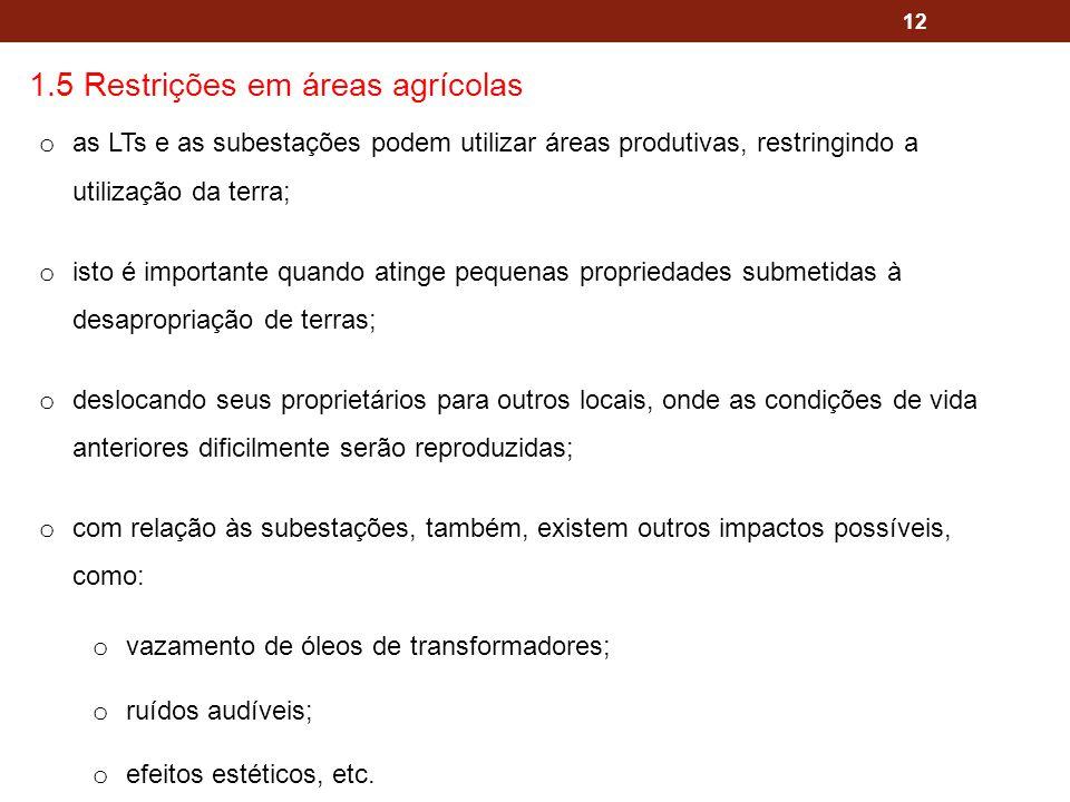 12 1.5 Restrições em áreas agrícolas o as LTs e as subestações podem utilizar áreas produtivas, restringindo a utilização da terra; o isto é important