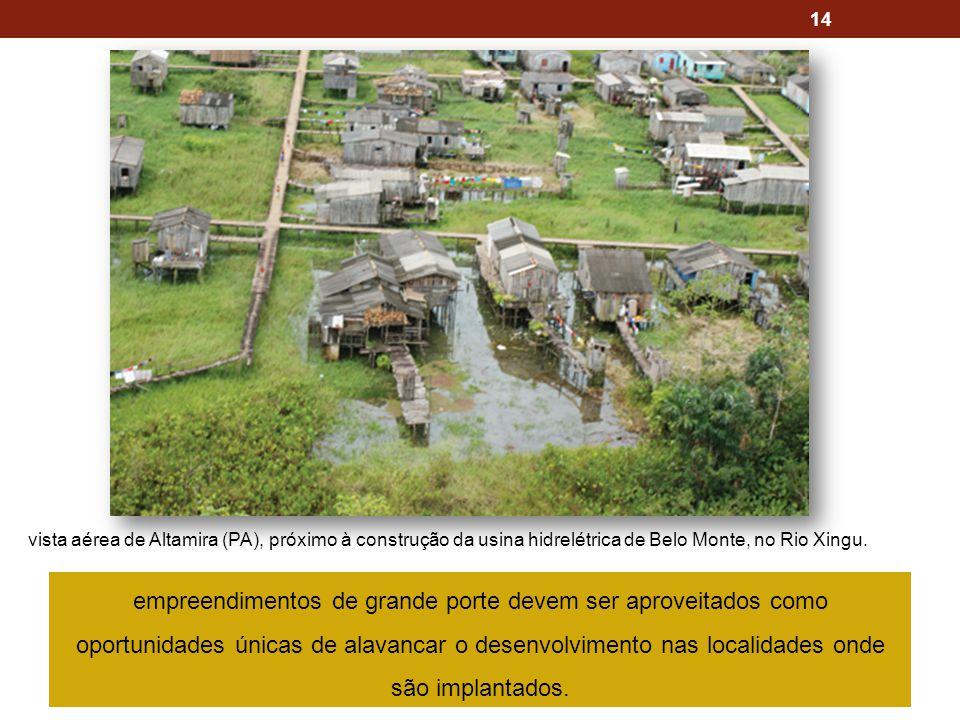 14 vista aérea de Altamira (PA), próximo à construção da usina hidrelétrica de Belo Monte, no Rio Xingu. empreendimentos de grande porte devem ser apr