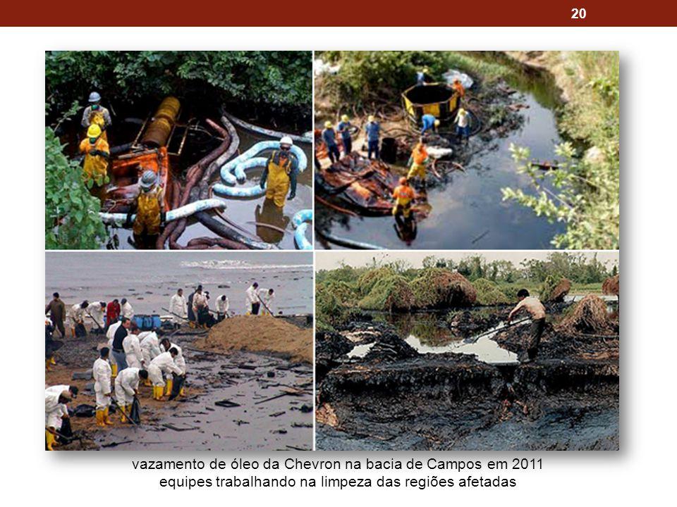 20 vazamento de óleo da Chevron na bacia de Campos em 2011 equipes trabalhando na limpeza das regiões afetadas