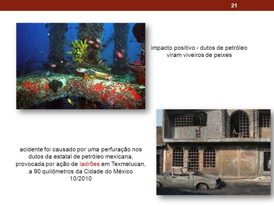 21 impacto positivo - dutos de petróleo viram viveiros de peixes acidente foi causado por uma perfuração nos dutos da estatal de petróleo mexicana, provocada por ação de ladrões em Texmelucan, a 90 quilômetros da Cidade do México 10/2010