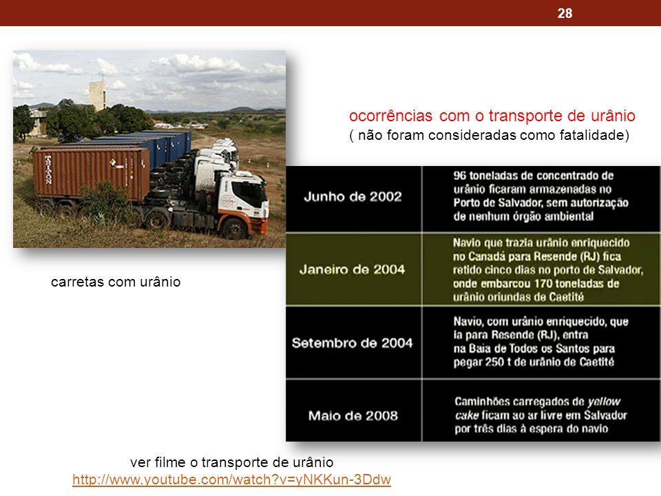 28 carretas com urânio ver filme o transporte de urânio http://www.youtube.com/watch?v=yNKKun-3Ddw ocorrências com o transporte de urânio ( não foram consideradas como fatalidade)