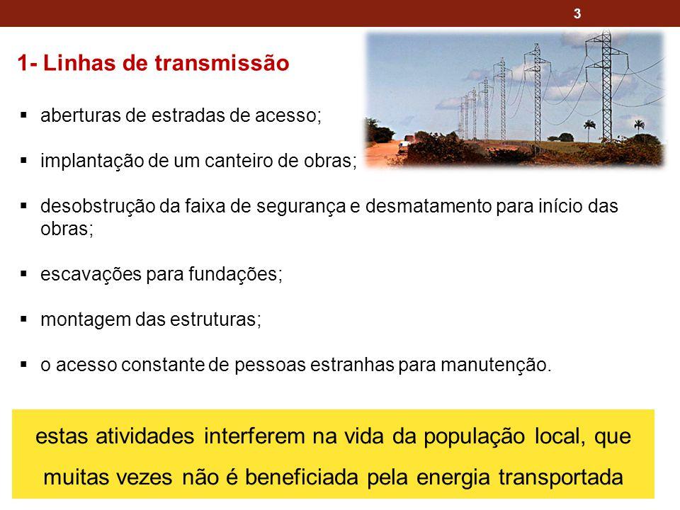 3 1- Linhas de transmissão aberturas de estradas de acesso; implantação de um canteiro de obras; desobstrução da faixa de segurança e desmatamento par