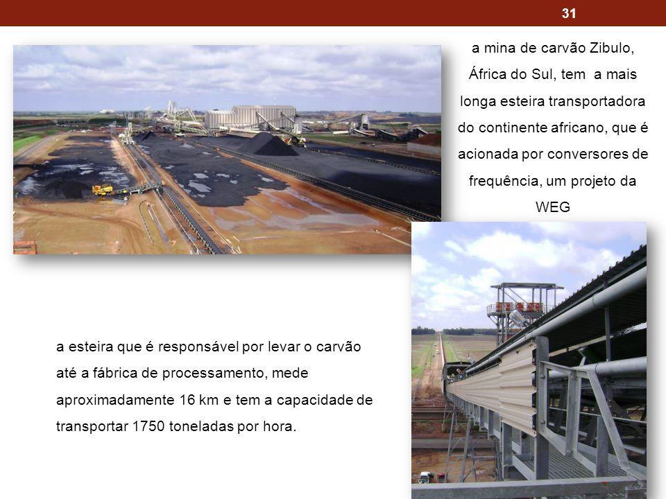 31 a esteira que é responsável por levar o carvão até a fábrica de processamento, mede aproximadamente 16 km e tem a capacidade de transportar 1750 toneladas por hora.