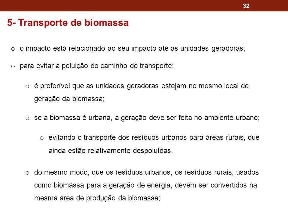 32 5- Transporte de biomassa o o impacto está relacionado ao seu impacto até as unidades geradoras; o para evitar a poluição do caminho do transporte: o é preferível que as unidades geradoras estejam no mesmo local de geração da biomassa; o se a biomassa é urbana, a geração deve ser feita no ambiente urbano; o evitando o transporte dos resíduos urbanos para áreas rurais, que ainda estão relativamente despoluídas.