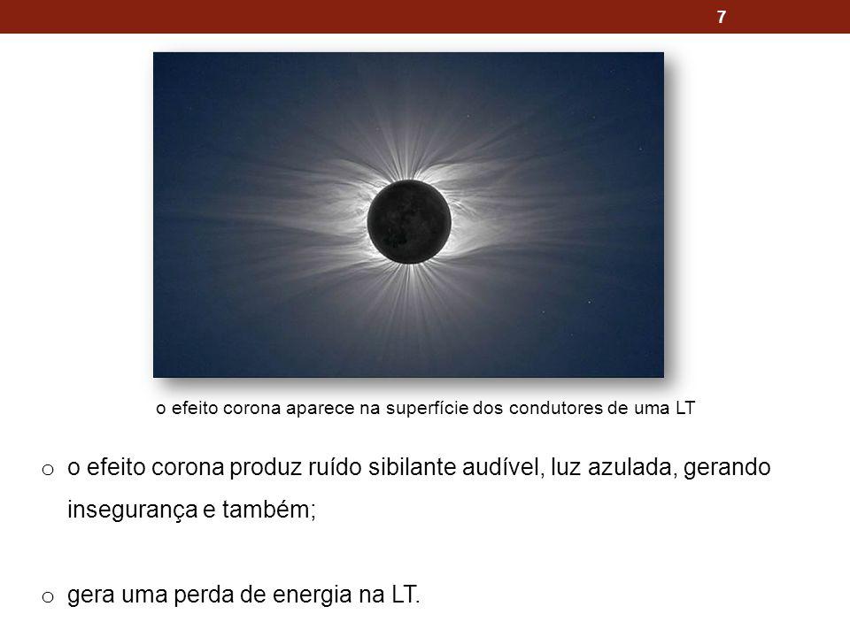 7 o o efeito corona produz ruído sibilante audível, luz azulada, gerando insegurança e também; o gera uma perda de energia na LT. o efeito corona apar