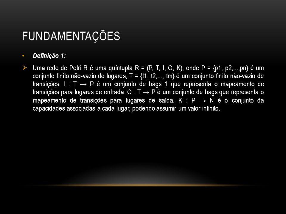 FUNDAMENTAÇÕES Definição 1: Uma rede de Petri R é uma quíntupla R = (P, T, I, O, K), onde P = {p1, p2,...,pn} é um conjunto finito não-vazio de lugare