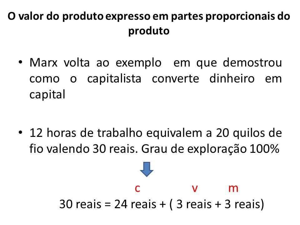 O valor do produto expresso em partes proporcionais do produto Marx volta ao exemplo em que demostrou como o capitalista converte dinheiro em capital