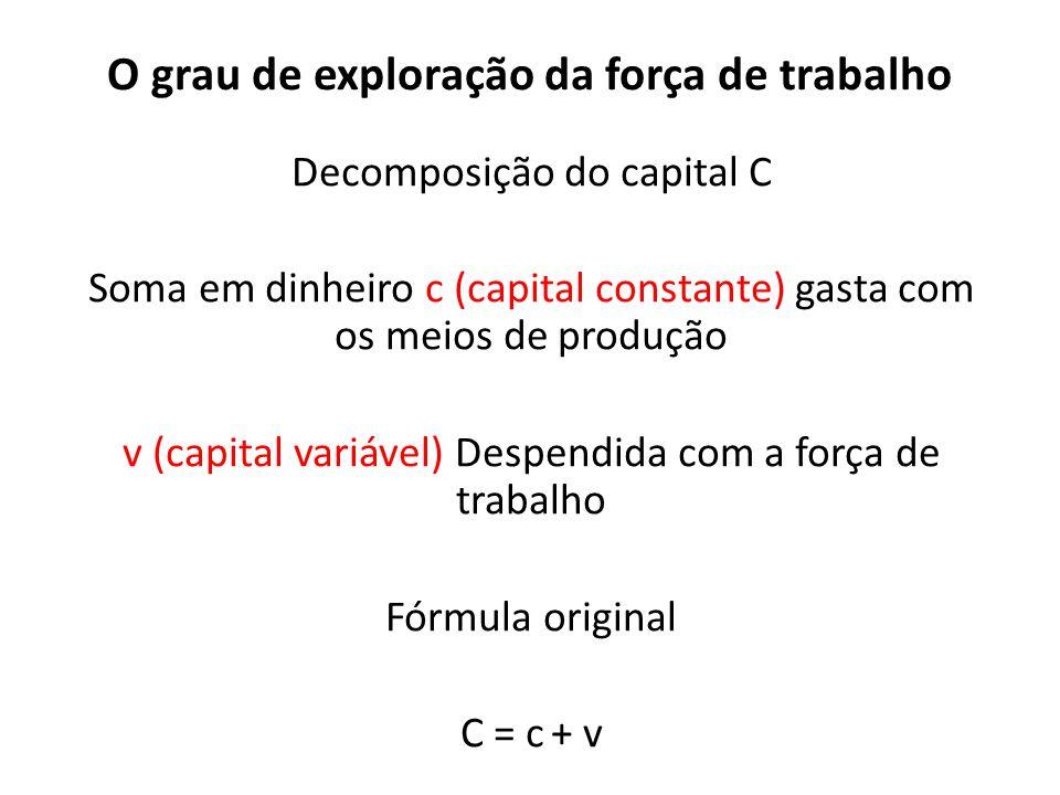 O grau de exploração da força de trabalho Decomposição do capital C Soma em dinheiro c (capital constante) gasta com os meios de produção v (capital v
