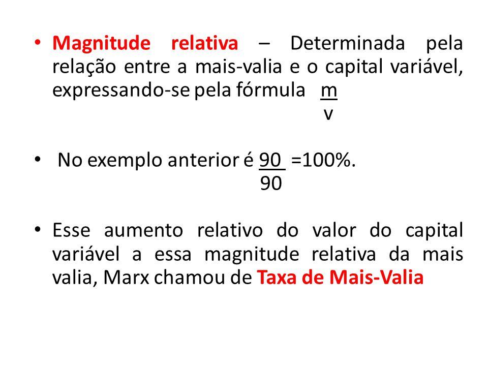 Magnitude relativa – Determinada pela relação entre a mais-valia e o capital variável, expressando-se pela fórmula m v No exemplo anterior é 90 =100%.