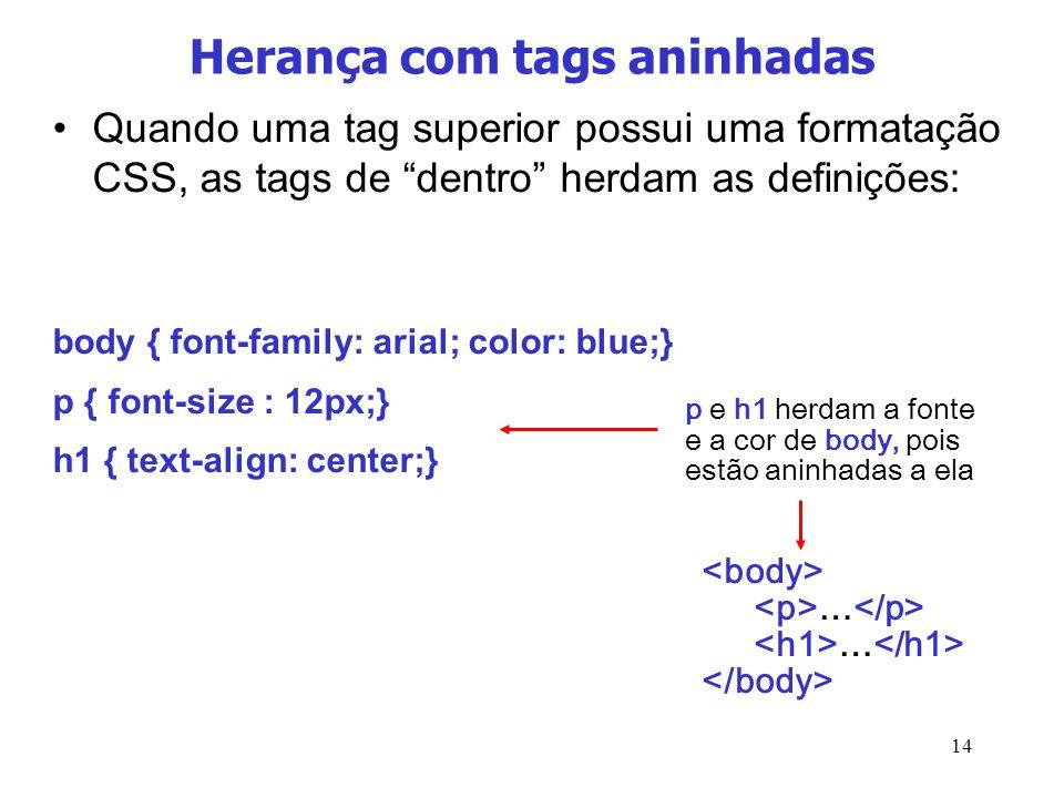 14 Herança com tags aninhadas Quando uma tag superior possui uma formatação CSS, as tags de dentro herdam as definições: body { font-family: arial; co