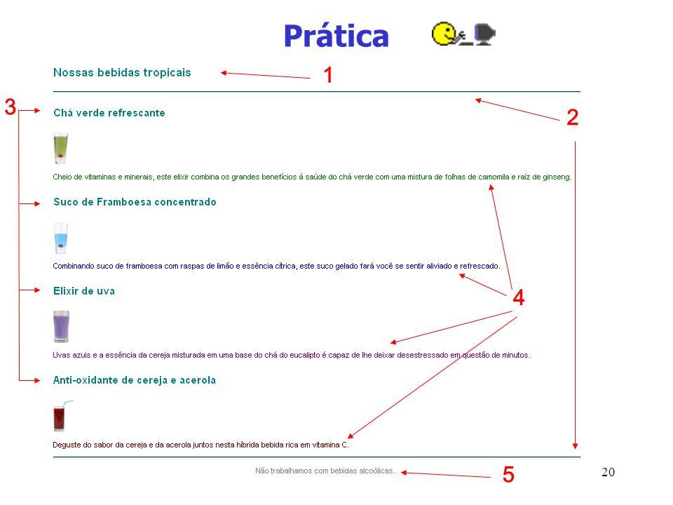 21 Prática 1: h3 com fonte arial e cor #007e7e 2: tags hr com cor #007e7e 3: h4 com fonte arial e cor #007e7e 4: parágrafos com fonte arial e cores: verde, azul, roxo (purple) e marron (maroon) 5: parágrafo com cor cinza, fonte arial e centralizado Nota: procure sempre simplificar o CSS usando classes, cascata…
