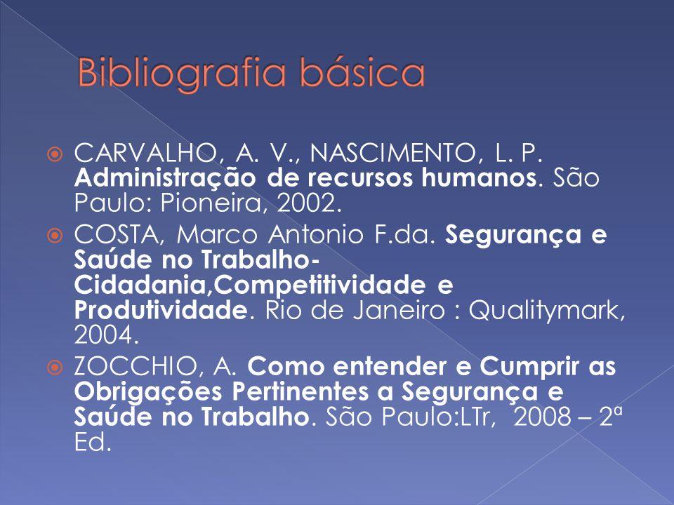 CARVALHO, A. V., NASCIMENTO, L. P. Administração de recursos humanos. São Paulo: Pioneira, 2002. COSTA, Marco Antonio F.da. Segurança e Saúde no Traba