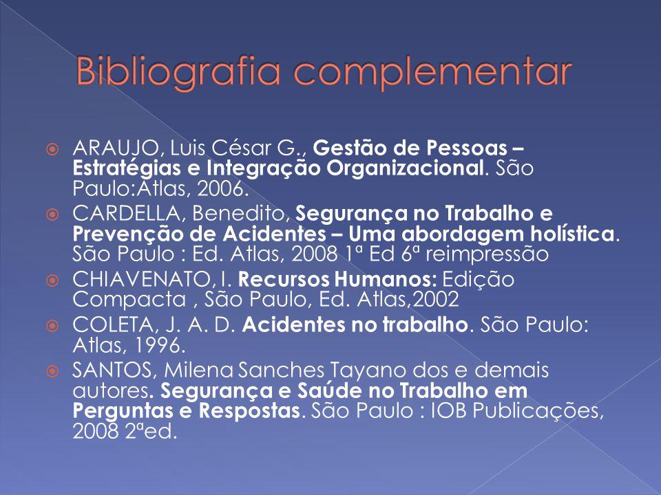ARAUJO, Luis César G., Gestão de Pessoas – Estratégias e Integração Organizacional. São Paulo:Atlas, 2006. CARDELLA, Benedito, Segurança no Trabalho e
