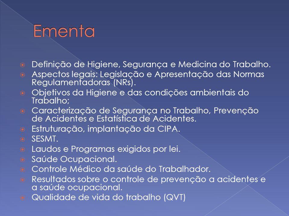 Definição de Higiene, Segurança e Medicina do Trabalho. Aspectos legais: Legislação e Apresentação das Normas Regulamentadoras (NRs). Objetivos da Hig