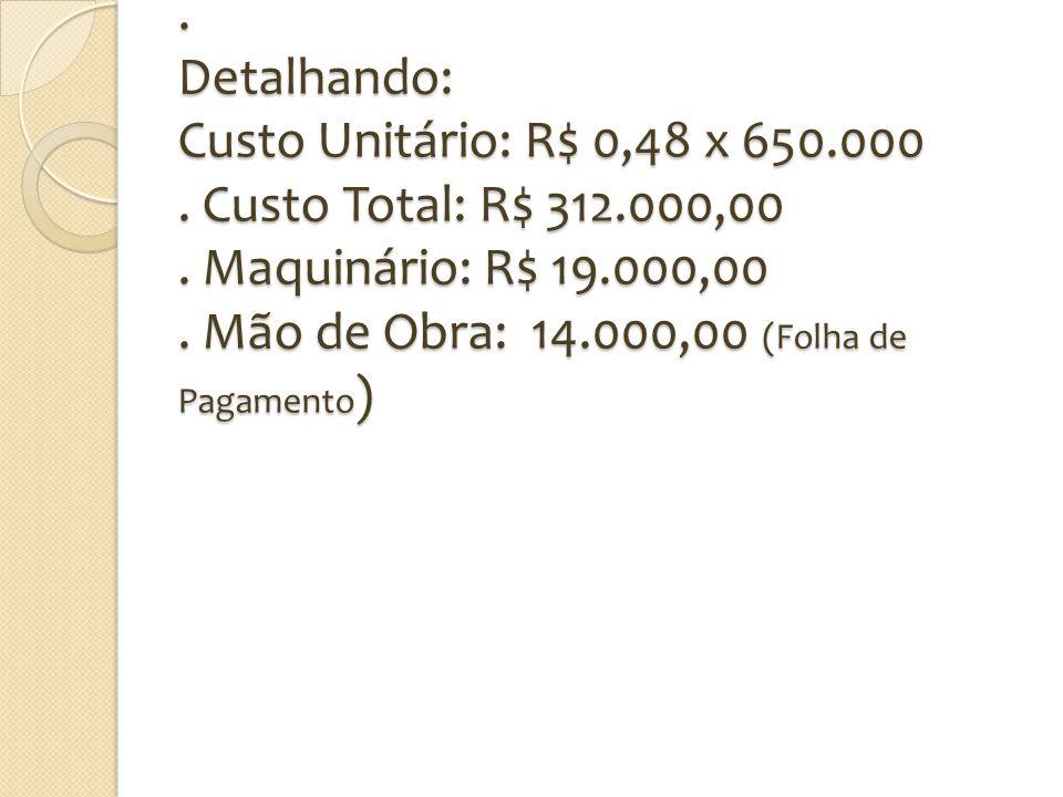 . Detalhando: Custo Unitário: R$ 0,48 x 650.000. Custo Total: R$ 312.000,00. Maquinário: R$ 19.000,00. Mão de Obra: 14.000,00 (Folha de Pagamento )