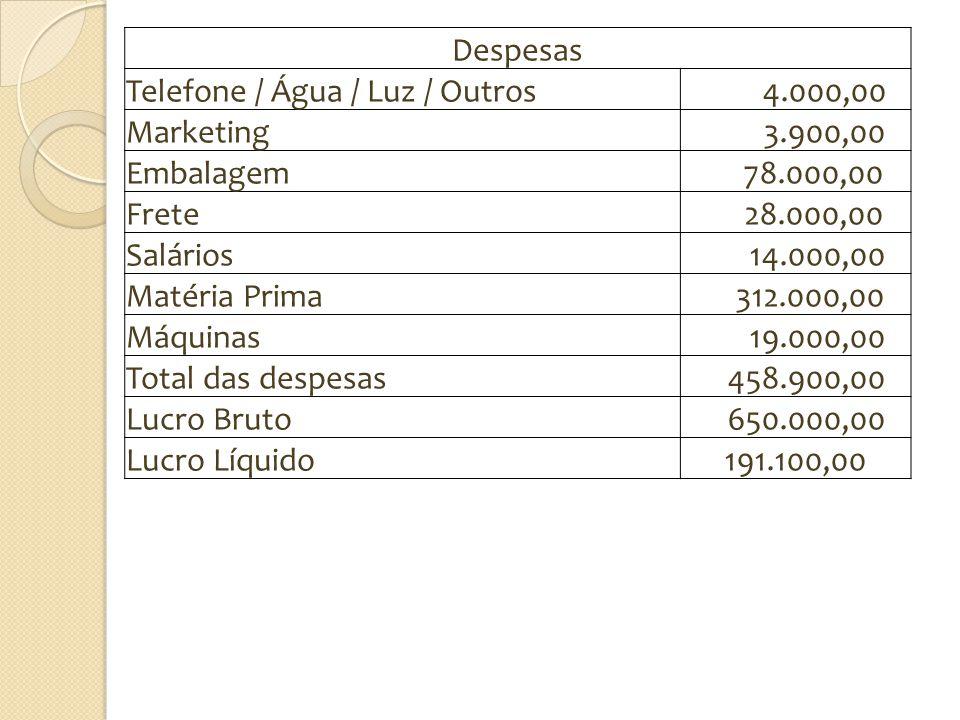 Despesas Telefone / Água / Luz / Outros 4.000,00 Marketing 3.900,00 Embalagem 78.000,00 Frete 28.000,00 Salários 14.000,00 Matéria Prima 312.000,00 Má