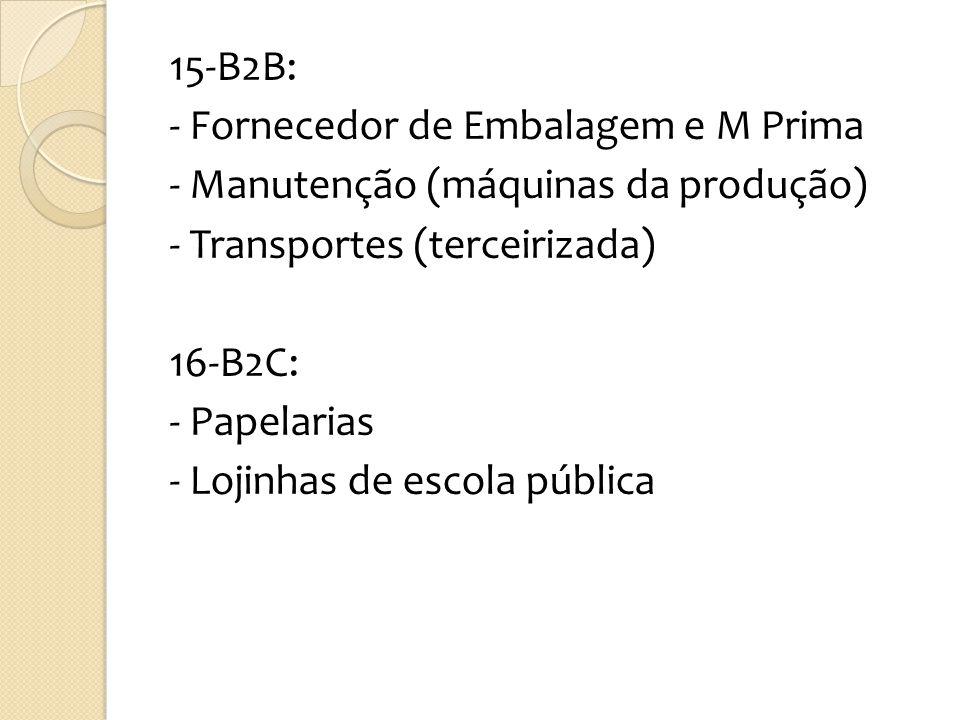 15-B2B: - Fornecedor de Embalagem e M Prima - Manutenção (máquinas da produção) - Transportes (terceirizada) 16-B2C: - Papelarias - Lojinhas de escola