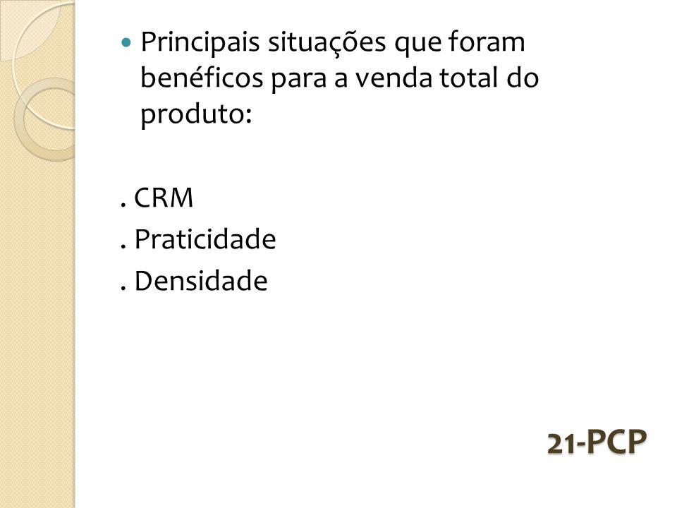 21-PCP Principais situações que foram benéficos para a venda total do produto:. CRM. Praticidade. Densidade