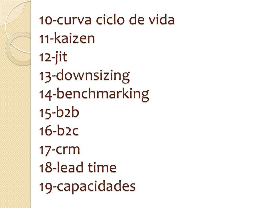 10-curva ciclo de vida 11-kaizen 12-jit 13-downsizing 14-benchmarking 15-b2b 16-b2c 17-crm 18-lead time 19-capacidades