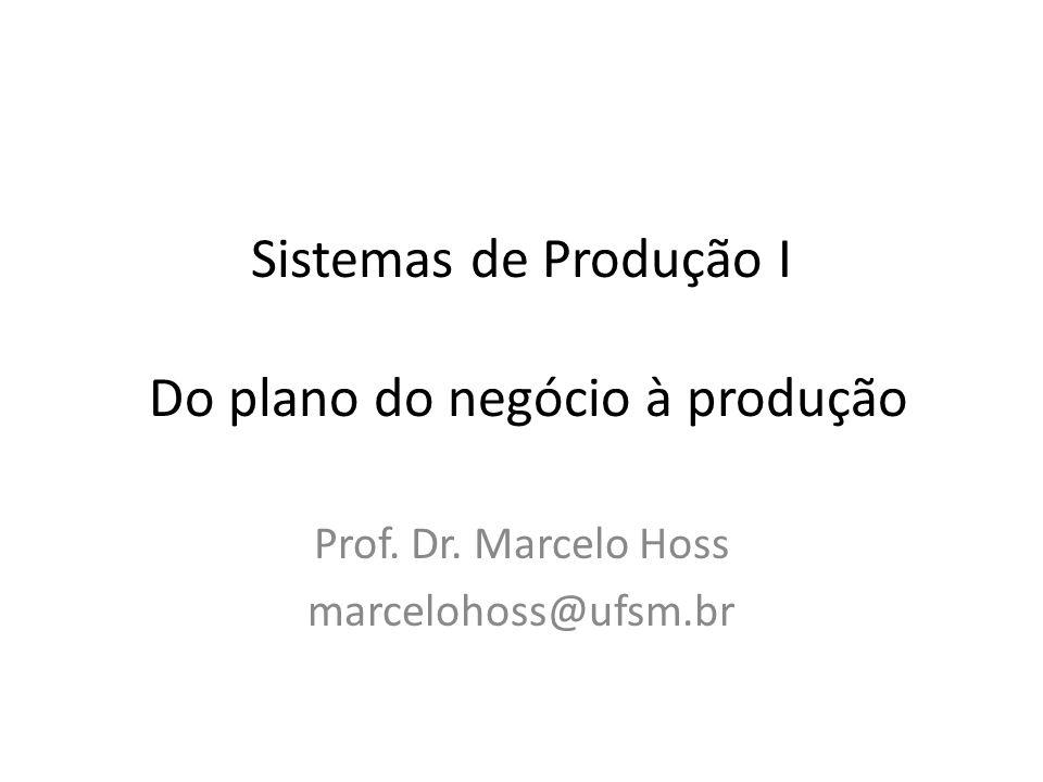 Sistemas de Produção I Do plano do negócio à produção Prof. Dr. Marcelo Hoss marcelohoss@ufsm.br