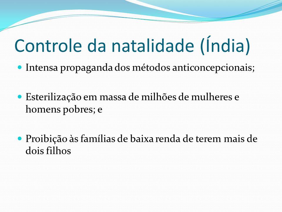 Controle da natalidade (Índia) Intensa propaganda dos métodos anticoncepcionais; Esterilização em massa de milhões de mulheres e homens pobres; e Proi